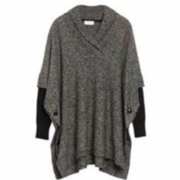 RD Style poncho style gray and black sweater